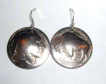 Coin Jewelry -Buffalo-Indian Nickel Earrings-free shipping