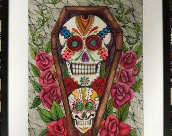 coffin sugar skulls