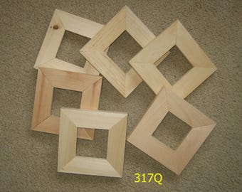 6 unfinished  wood 3x3 picture frames
