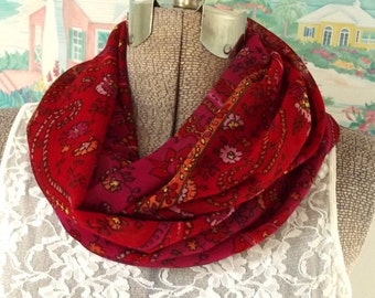 ON SALE Fabric Infinity Scarf, Pink, Red, Orange, Floral, Print, Lightweight Fabric, Shorter Length, Woven