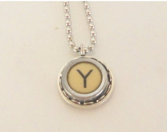 SALE Typewriter Key Necklace  - Vintage - Initial Jewelry -  ALL Letters Available - Typography Jewelry