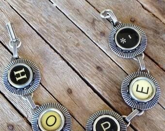 SALE Typewriter Key Bracelet Jewelry - HOPE - Retro - Recycyled - Reclaimed - Vintage - Custom Orders Welcome