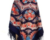 Vintage Russian wool shawl - Piano shawl -Dark blue floral shawl with fringes