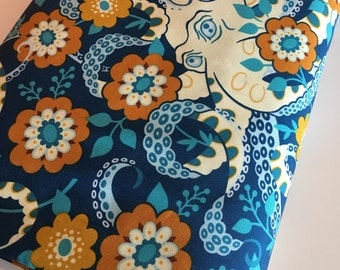 Hello Love fabric, Octopus fabric, Bright Quilt fabric, Baby Quilt fabric, Crib Bedding fabric, Octopus Garden in Midnight, Choose your cut