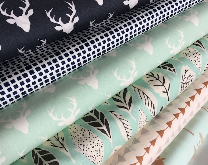 Hello Bear fabric bundle, Mini Buck Forest, Navy and Mint fabric, Deer fabric, Bundle of 6- You Choose the Cut, Free Shipping Available