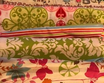 Michael Miller Paris Pink & Green Stripe Damask Scraps/Yardage Destash Lot FLAT RATE 2lbs 7.1oz. of fabric Quilt Making