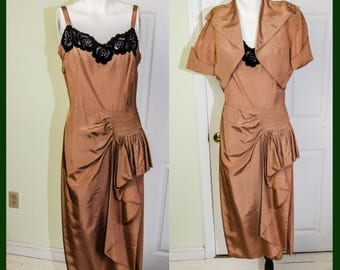 Vintage 1950s Velvet Applique and Rayon Wiggle Dress with Jacket