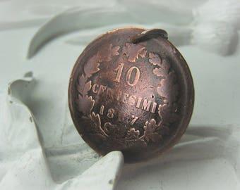 Copper Coin Pendant Coin Vintage Coin Antique COin 1867 Italia Item No. 8077