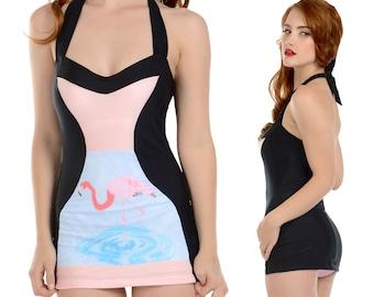 Tori Halter Swimsuit Swim Dress in Black Flamingo Print