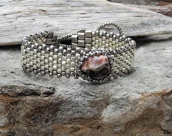 Free Form Peyote Stitch Beaded Skinny Bracelet  - Beaded Cabochon - Bead Weaving  - Lake Superior Thomsonite Cabochon -  Galvanized Silver