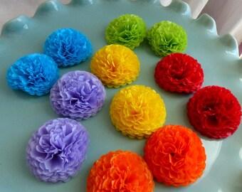 Button Mums Tissue Small Paper Flowers Rainbow Wedding, Bridal Shower, Baby Shower Decor Red, Green, Yellow, Blue, Purple, Orange