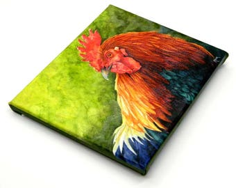 Canvas Rooster Print, Rooster Art, Chicken Art, Chicken Print, Country decor, kitchen decor, farm decor, chicken decor, rooster painting