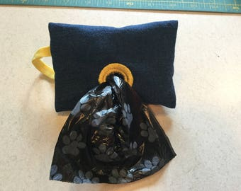 Denim Dog Poop Bag Holder Fits on Leash or Wristlet Male Or Female Pet  BONUS! Free Roll of Bags