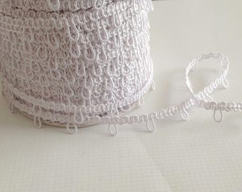 "White 1"" Spaced Elastic Bridal Button Looping Trim - Ready to use Wedding Button Holes"