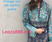 Silk kantha long jacket