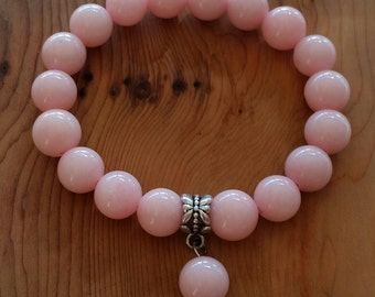 Natural Pink Jade Bracelet handmade (HGB10707)- Wrist size up to 7 inches- Ship from Canada