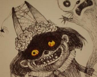 Halloween Forever Original Drawing by Kamila Mlynarczyk Woodedwoods