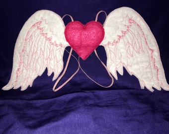 Custom Embroidered Pink Heart Angel Wings
