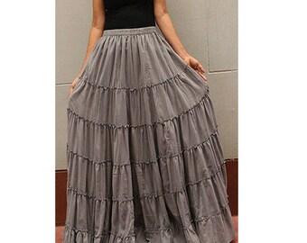 Gray  Cotton Boho Hippie Long Elastic Waist Ruffle Skirt (RL02)