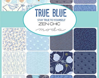 "SQ71 Moda TRUE BLUE Precut 5"" Charm Pack Fabric Quilting Cotton Squares Zen Chic 1620PP"