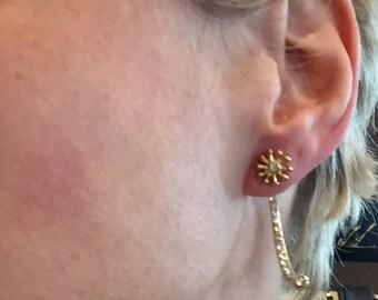 Dara Ettinger Crystal and metal half hoop jacket earrings