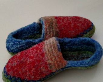 Boho Felted Wool Slippers, House Shoes, Slippers, US  Size 7
