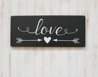Love Sign Handcrafted Worn Finish Wedding Sign or Valentine Family Heart and Arrows