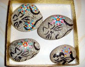 On Sale -Kitties in A Box! Sleeping Kitties w/Starflowers .. 4 Hand Painted Stones with Star Flowers -  number 72 - Gift!..  for cat lovers!
