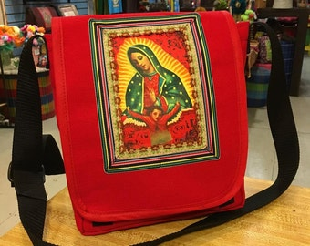 Virgin of Guadalupe Canvas Messenger Bag, Cross body Shoulder bag, Courier Bag,  Book Bag