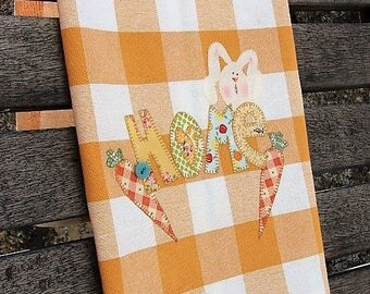 Rabbit Tea Towel | Appliqued HOME Kitchen Towel | Appliqued Rabbit & Carrots | Country Kitchen Decor | Gold White Check Towel | Hostess Gift