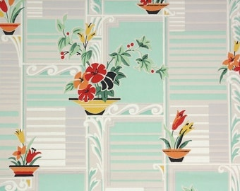 1930's Vintage Wallpaper - Red and Yellow Flowers Cute Kitchen Wallpaper