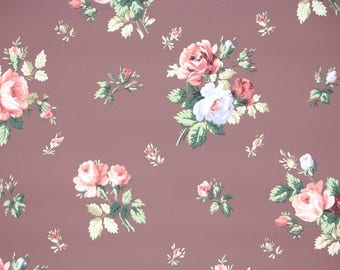 1940s Vintage Wallpaper by the Yard - Floral Wallpaper Coral and Blue Roses on Brown