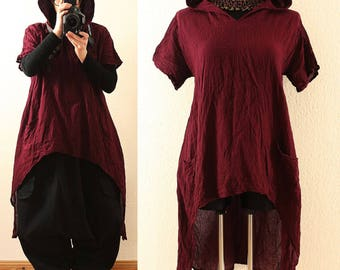 Long BAGGY Wine Red Lagenlook Hooded Maxi Tunic Shirt Dress Plus Size 22 24 26 3X 4X Hoodie Asymmetric Hem Layered Lagenlook DIY Style