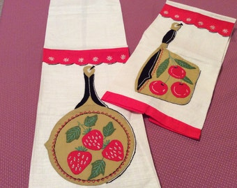 Pair of Vintage Fruit Applique and Embroidery Kitchen Towels Red White Cherries Strawberries Berries Kitchen Motif T25