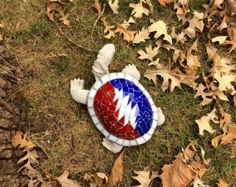Large Grateful Dead Mosaic Solid Cement Garden Turtle