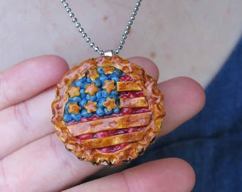 4TH of July Pie Necklace - American Pie - Pie Necklace - Cherry Pie - Blueberry pie - Stars and Stripes - Fourth of July