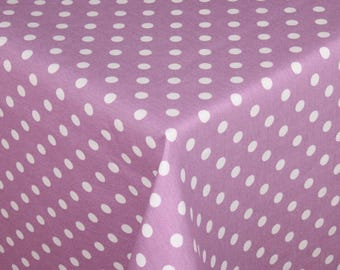 "Small ROUND Handmade Tablecloth - Diameter 60"" -  150 cm - POLKA DOTS on Lilac"