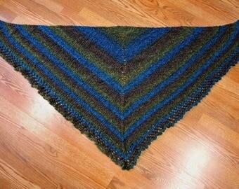 Hand Knit Turquoise Green Boucle Acrylic Nylon Yarn Triangular Stripe Shawl Gift