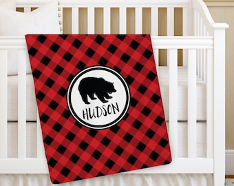 Bear Baby Blanket, Buffalo Plaid, Personalized Baby Blanket, Boy Baby blanket, Receiving Blanket, Swaddling Blanket, Baby Shower Gift, mama