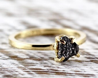 Black Diamond Engagement Ring Rough Uncut 14k Gold Delicate Rings