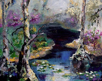 Suwannee River Wetland Landscape Portrait Oil Painting 18 by 24 inch by Ginette