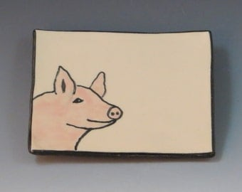 Handbuilt Ceramic Soap Dish with Pig
