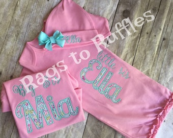 Baby Girl Coming Home Outfit - Big Sister shirt - Infant Baby Gown - Personalized Baby Gown- personalized big Sister shirt