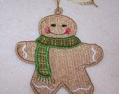 Gingerbread man Christmas ornament machine embroidered lace