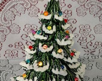 "11"" Nowell Lighted Ceramic Christmas Tree Green - Flocked"