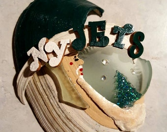 New York Jets seashell ornament with seaglass