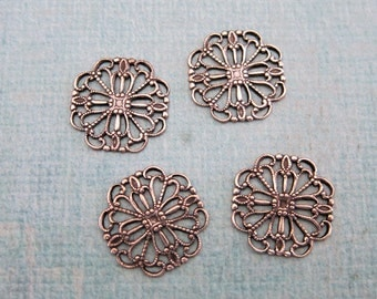 SALE 4 Silver Square Filigree Findings 3799Y