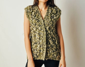 Vintage Green Textured Sweater Top