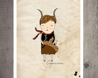 Capricorn, Capricorn Constelation, Astrology Art Print, For Him, Capricorn Art Print, Baby Boy Nursery Room, Custom Name
