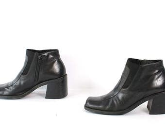 size 8 CHELSEA black LEATHER 80s 90s CHUNKY zip up ankle boots